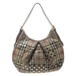 Burberry Beige/Gold PVC and Haymarket Check Cutout Drawstring Hobo