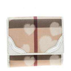 Burberry Beige Nova Check PVC Heart Compact Wallet