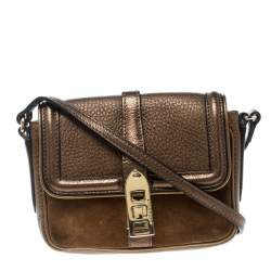 Burberry Brown Leather and Suede Mini Berkeley Crossbody Bag