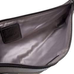 Burberry Beige/Metallic Nova Check PVC and Patent Leather Zip Wristlet Clutch
