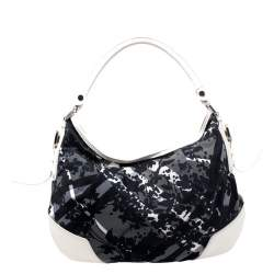 Burberry Black/White Beat Check Nylon and Patent Leather Hernville Hobo