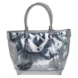 Burberry Silver Beat Check Patent Leather Ember Tote