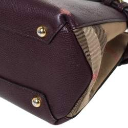 Burberry Burgundy Leather and House Check Fabric Small Banner Tote