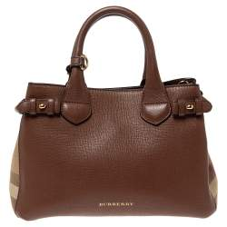 Burberry Tan Leather and House Check Fabric Small Banner Tote