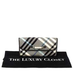 Burberry Blue Label Black/Blue House Check Fabric Flap Continental Wallet