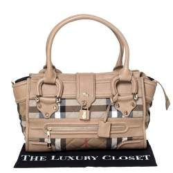 Burberry Beige Quilted House Check Canvas and Leather Manor Satchel