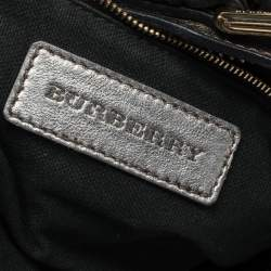 Burberry Grey Smoked Check PVC and Leather Hobo