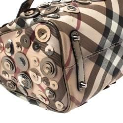 Burberry Beige/Metallic Nova Check PVC and Patent Leather Chester Studded Boston Bag