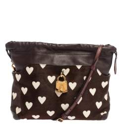 Burberry Brown Heart Print Calfhair and Leather Little Crush Crossbody Bag