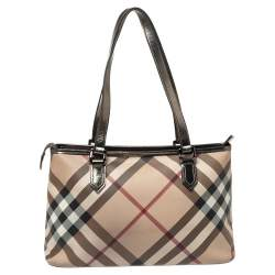Burberry Metallic/Beige Nova Check PVC and Patent Leather Zip Tote