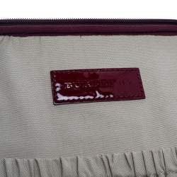 Burberry Burgundy Heart Check Coated Canvas and Patent Leather Trolley Bag