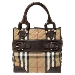 Burberry Brown/Beige House Check Canvas and Leather Buckle Flap Tote