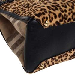 Burberry Black/Brown Leopard Print Calfhair, Leather and House Check Canvas Medium Banner Tote