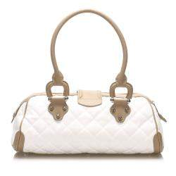 Burberry White/Beige Quilted Nylon/Leather Manor Bag
