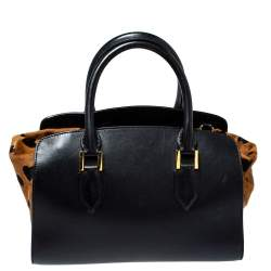 Burberry Black/Brown Heart Print Calfhair and Leather Dinton Satchel