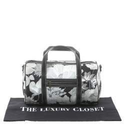 Burberry Black/White Floral Print Canvas Boston Bag
