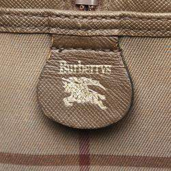 Burberry Brown Plaid Canvas Vintage Boston Bag