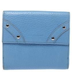 Burberry Blue Leather French Wallet