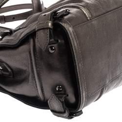 Burberry Metallic Dark Grey Leather Satchel
