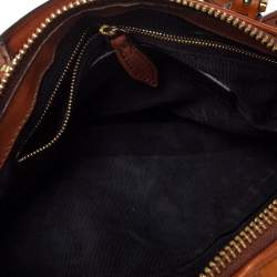 Burberry Ombre Cognac Satin and Leather Padlock Boston Bag