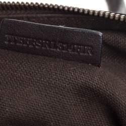 Burberry Dark Brown Leather with Nova Check Canvas Trim Front Pocket Satchel