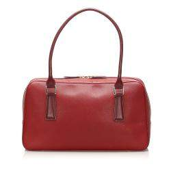 Burberry Red Leather Satchel Bag