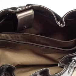 Burberry Metallic Grey Nova Check Coated Canvas and Leather Small Warrior Hobo