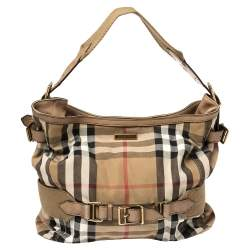 Burberry Beige House Check Canvas and Leather Large Parsons Hobo