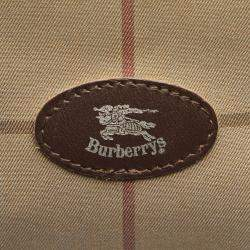 Burberry Brown/Beige Plaid Canvas Boston Bag