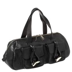 Burberry Black Pebbled Leather Double Pocket Satchel