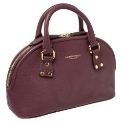 Burberry Burgundy Grained Leather Orchard Satchel