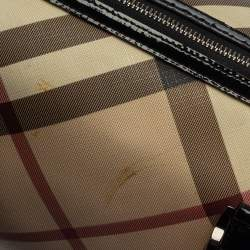 Burberry Beige/Black Supernova Check Coated Canvas and Patent Leather Boston Bag