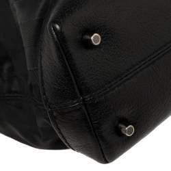 Burberry Black Tonal Check Nylon and Leather Satchel