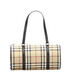 Burberry Brown/Beige House Check Canvas Bag