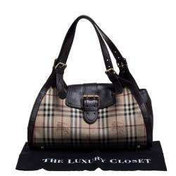 Burberry Brown/Beige Haymarket Check PVC and Leather Buckle Flap Satchel