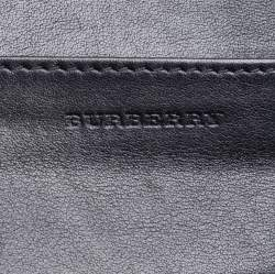 Burberry Beige/Black Smoke Check PVC and Leather Flap Continental Wallet