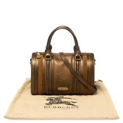 Burberry Bronze Leather and Suede Medium Alchester Bowling Bag