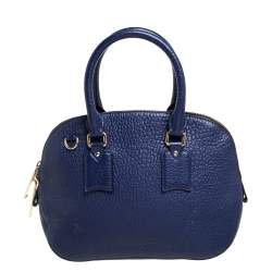 Burberry Blue Heritage Grain Leather Small Orchard Bowling Bag