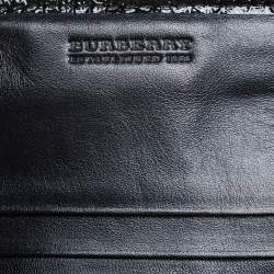 Burberry Black/Grey Beat Check Nylon and Patent Leather Penrose Continental Wallet