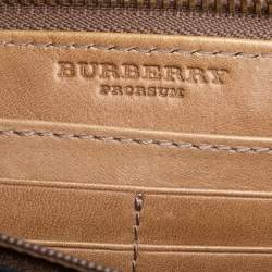 Burberry Beige Check Canvas and Leather Studded Zip Around Wallet