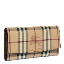 Burberry Beige Haymarket Check PVC and Leather Flap Continental Wallet