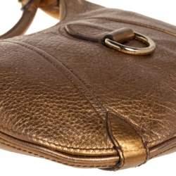 Burberry Metallic Gold Grained Leather Hobo