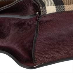 Burberry Burgundy House Check Canvas and Leather Macken Crossbody Bag