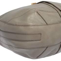 Burberry Grey Leather Bartow Hobo
