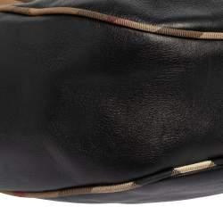 Burberry Black Leather and Nova Check Trim Hobo