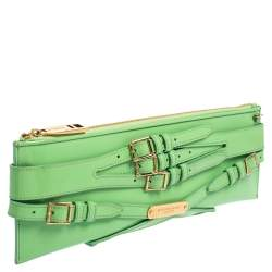 Burberry Green Patent Leather Bridle Parmoor Clutch Bag