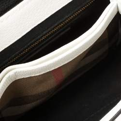 Burberry White/Black Leather and House Check Canvas Small Camberley Top Handle Bag