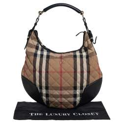 Burberry Beige/Black House Check Canvas and Leather Hoxton Hobo