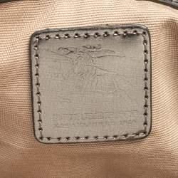 Burberry Metallic/Beige Nova Check PVC and Patent Leather Small Canterbury Tote