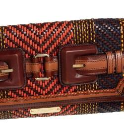 Burberry Multicolor Woven Leather Buckle Flap Clutch